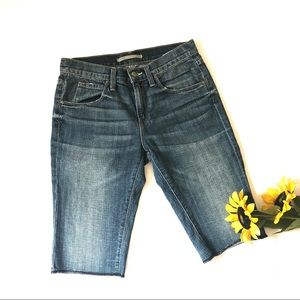 Vince | Raw Hem Blue Wash Denim Bermuda Shorts